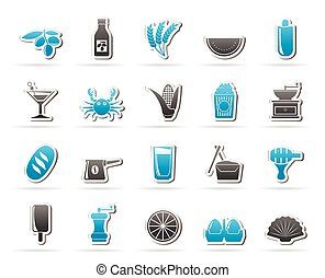 Different king of food and drinks icons