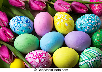Easter background with hand painted eggs - Easter background...