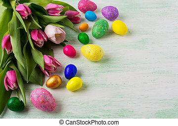 Easter background with vibrant painted eggs - Easter...