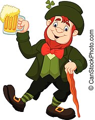 Cartoon happy leprechaun holding beer - Vector illustration...