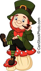 Cartoon happy leprechaun sitting on the mushroom, - Vector...