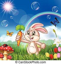 Cartoon cute rabbit holding a carrot