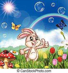 Cartoon cute little rabbit giving thumbs up