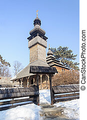 Ancient Ukrainian wooden church - Old wooden Greek-Catholic...