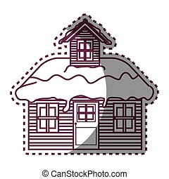 wooden house winter season vector illustration design