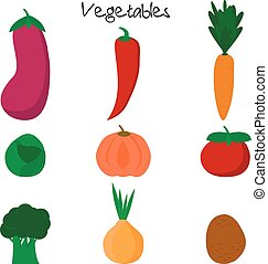 Cartoon cute vegetables.
