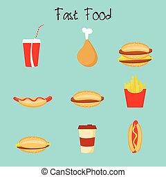 Cartoon Fast food - Cartoon potato, cheeseburger, burger,...