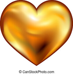 gold heart on white background