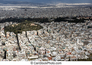Amazing Panorama of the city of Athens from Lycabettus hill,...