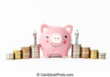 piggy savings with stack of coins money.