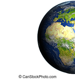 Europe and Africa on planet Earth