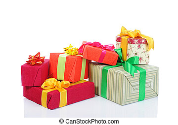 Gift boxes with ribbons and bows.