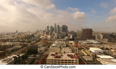 Urban Metropolis Los Angeles City Skyline Cloudy Blue Skies...