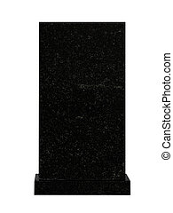 tombstone - empty black granite tombstone isolated on white