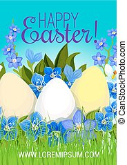 Easter poster paschal eggs flowers vector greeting - Happy...