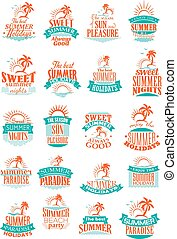 Summer holidays or vacation trip vector icons