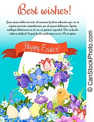 Happy Easter paschal egg vector greeting poster