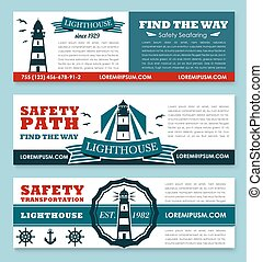 Lighthouse vector banners for safety seafaring - Safety...