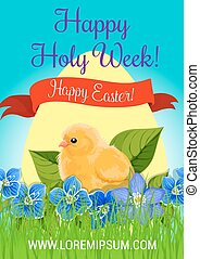 Happy Easter Holy Week paschal vector greeting - Happy...