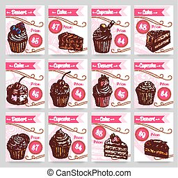 Dessert cakes vector price cards set - Pastry desserts price...