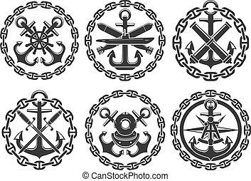 Marine and nautical heraldic anchor vector icons - Nautical...