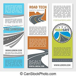 Road safety service technology vector banners - Road...