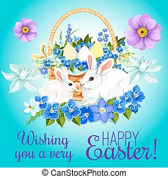 Easter paschal card eggs and bunny vector greeting