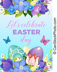 Easter paschal eggs flowers vector greeting poster - Easter...
