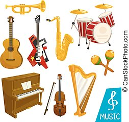 Musical instruments vector isolated icons - Guitar, piano...