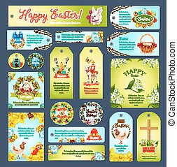 Easter greeting cards, tags, banners vector set - Easter...
