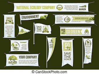 Green ecology company vector advertising icons set -...