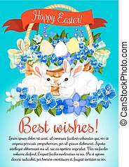 Easter eggs and bunny vector greeting poster