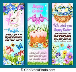 Easter paschal cake, eggs, flowers vector banners - Happy...