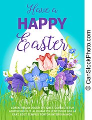 Happy Easter egg greeting poster vector design - Easter...