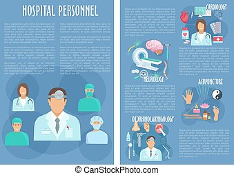 Hospital personnel doctors vector posters - Hospital doctors...