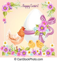 Easter greeting card vector flowers, paschal egg - Easter...