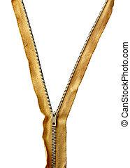 Zip - Closeup of zipper in between yellow tissue isolated...