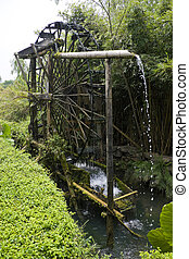 Water Wheel Irrigator - Image of a paddy farmer's water...