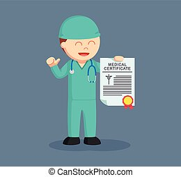 male surgeon showing his medical certificate