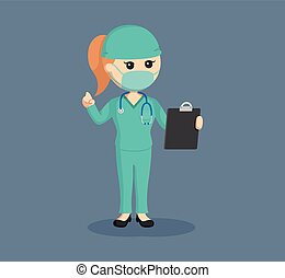 female surgeon with clipboard
