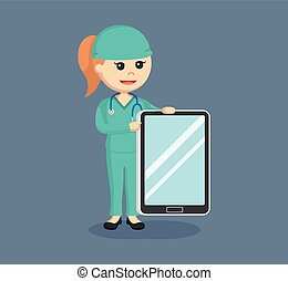 female surgeon with tablet