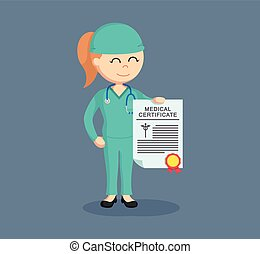 female surgeon showing her medical certificate