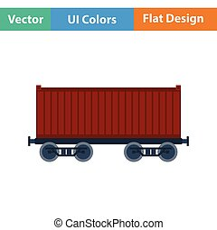 Railway cargo container icon. Flat design. Vector...