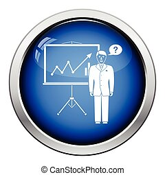 Clerk near analytics stand icon