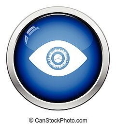 Eye with market chart inside pupil icon. Glossy button...