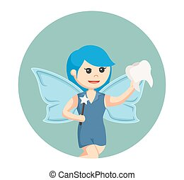 blue female tooth fairy with tooth in circle background