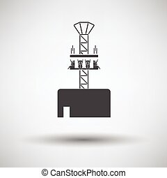 Free-fall ride icon on gray background, round shadow. Vector...
