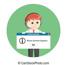 call center man with pc message in circle background
