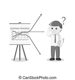 businessman confused with his company progress