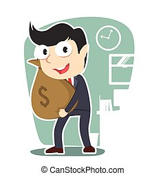 businessman holding money sack